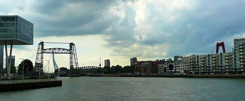 De Hef, de Zwaan (Erasmusbrug) en Willemsbrug bij elkaar